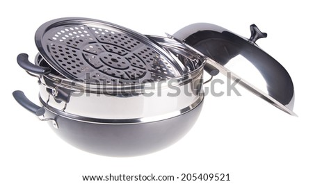 pan. steamer pan on the background