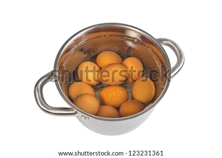 pan with cooking eggs, isolated on the white - stock photo