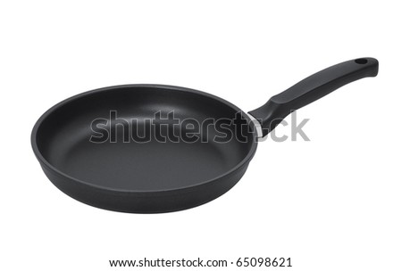 Pan with handle on white background - stock photo