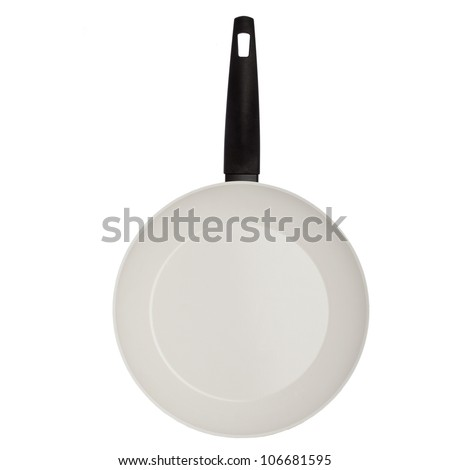 Pan with handle on white background, isolated - stock photo