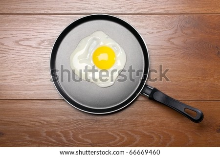 Pan with handle on wooden background