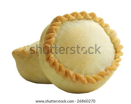 Panadas (delicatessen from Oschiri in Sardinia with meat inside) isolated over white - stock photo