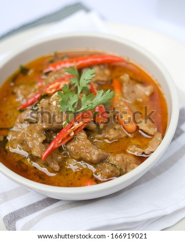 Panaeng curry is a type of Thai curry that is generally milder than other Thai curries - stock photo