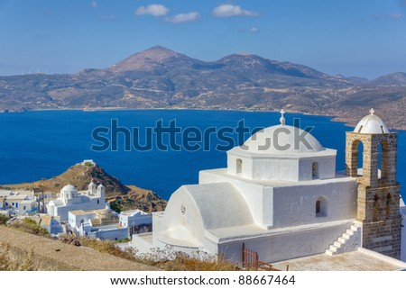 Panagia Thalassitra church and Plaka village view, Milos island, Cyclades, Greece
