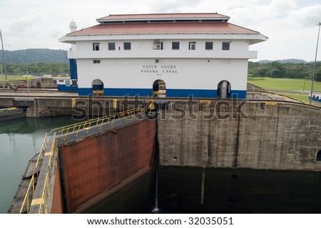 Panama Canal - Gatun Locks - stock photo