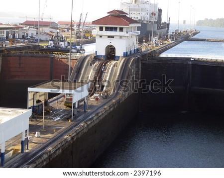 Panama Canal locks - stock photo