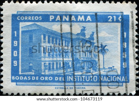 PANAMA - CIRCA 1959: A stamp printed in Panama honoring Golden Jubilee of the National Institute, circa 1959 - stock photo