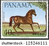 "PANAMA - CIRCA 1980: A stamp printed in Panama shows "" The hippo hunt"" by Sir Peter Paul Rubens, circa 1980 - stock photo"