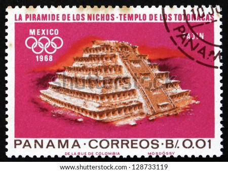 PANAMA - CIRCA 1967: a stamp printed in the Panama shows Indian Ruins at Tajin, Totonac Culture, 1968 Summer Olympics, Mexico City, circa 1967 - stock photo