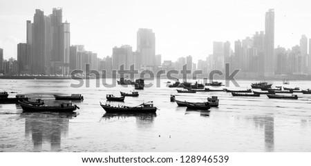 Panama City and boats in bay - stock photo