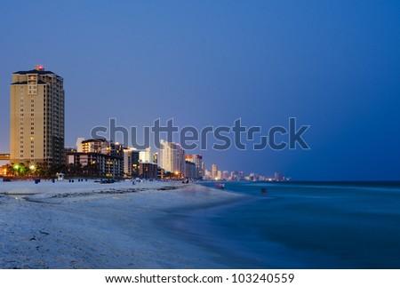 Panama City Beach Florida cityscape at night - stock photo