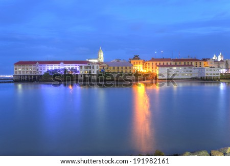 Panama City, Casco Viejo in the twilight - stock photo