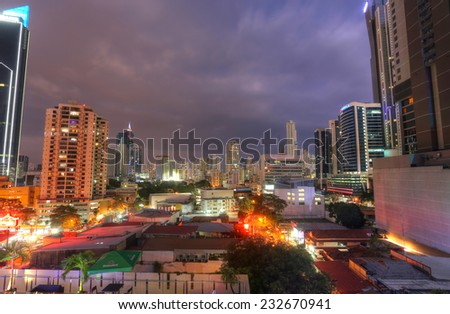 PANAMA CITY - NOV 23: Stunning view of Panama City in the twilight in Panama City, Panama on Nov 23, 2014. Is main commercial area in all the country where are the main banks and government offices.  - stock photo