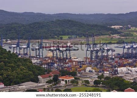 PANAMA CITY, PANAMA - AUGUST 10, 2009: Panama canal and container loading area at Port of Balboa. - stock photo
