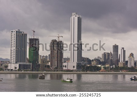 PANAMA CITY, PANAMA - AUGUST 10, 2009: skyline and boats, downtown Panama City, Marbella and Bella Vista neighborhoods.