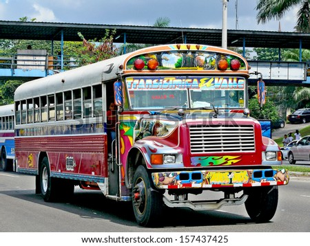 PANAMA CITY, PANAMA, DECEMBER 19 2006.  Painted and colourful public busses in Panama City, on December 19th 2006. FOR EDITORIAL USE ONLY - stock photo