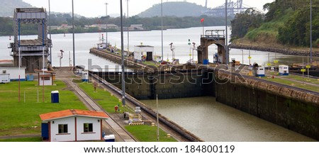 PANAMA CITY, PANAMA - JANUARY 10, 2014: The Miraflores Locks is one of three locks that form part of the Panama Canal. The Panama Canal was built in 1914 and celebrates its 100th anniversary this year - stock photo
