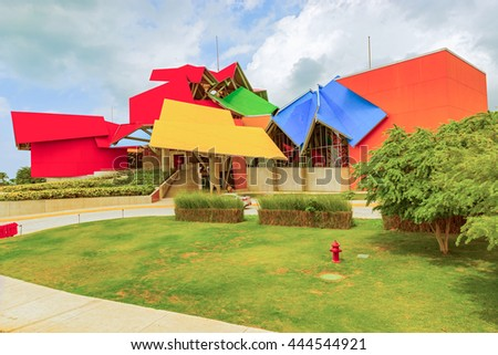 Panama City, Panama - May 15, 2015: Biomuseo in Panama City. Whimsical museum structure by the renowned Frank Gehry with 8 galleries on Panama biodiversity.