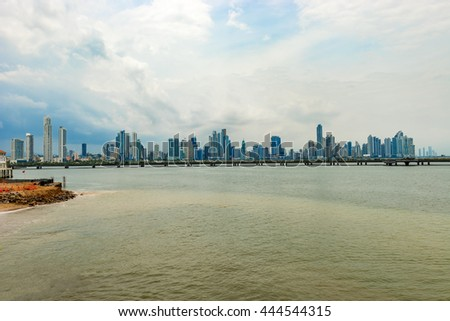 Panama city, Panama - May 15, 2016: Landscape view at skyline of skyscrapers in Panama City, Panama, Central America.