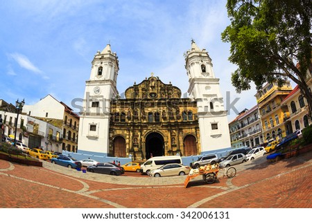 PANAMA CITY, PANAMA, 20 10 2015. Panama Cathedral, Sal Felipe Old Quarter, UNESCO World Heritage Site, Panama City, Panama, Central America - stock photo