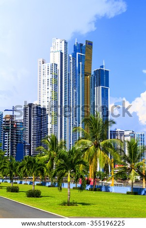 PANAMA CITY, PANAMA, 20 10 2015. Skyscrapers in Panama City, skyline on a background. The metro population of around 1,440,000