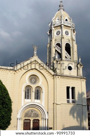 Panama City, San Francisco of Assisi church in Casco Antiguo - the UNESCO heritage historical quarter. Located in Plaza Bolivar, the church has been restored after a few fires in the XVIII century. - stock photo
