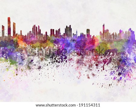 Panama City skyline in watercolor background - stock photo