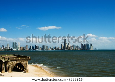 panama city with buildings by the water - stock photo