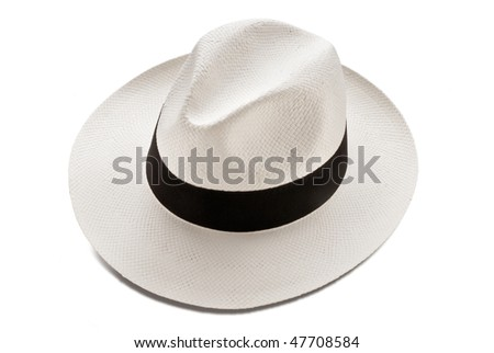 panama hat model isolated over white background - stock photo