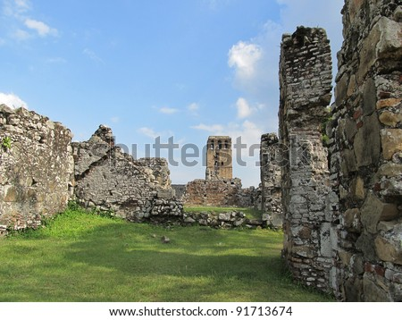 Panama La Vieja, old Spanish city destroyed by pirates. The UNESCO heritage ruins at far are of the cathedral & its main structures. Photo taken from inside the bishop house (or Pedro Alarcon's) ruins - stock photo