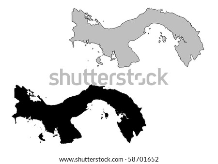 Panama map. Black and white. Mercator projection. - stock photo