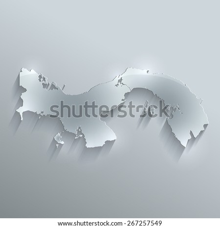 Panama map glass card paper 3D raster - stock photo