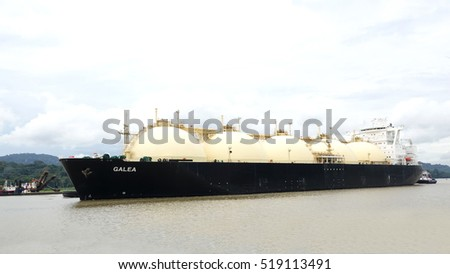 PANAMA-NOV 19, 2016: Post Panamax vessel GALEA crossing the Panama Canal, Galea is a LNG Tanker , one of the huge ships that now can use the water way.