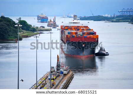 PANAMA - OCTOBER 6. Contracts have been awarded to build six new locks on the Panama Canal. Construction work is proceeding apace. October 6, 2010, Panama - stock photo