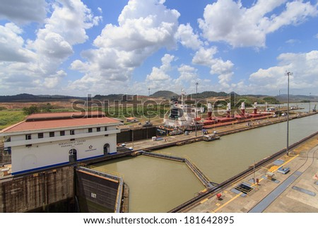 PANAMA - SEPTEMBER 10. Miraflores Locks building on September 10, 2006 in Panama Canal. Six new locks will be constructed by 2015 on the Panama Canal. - stock photo