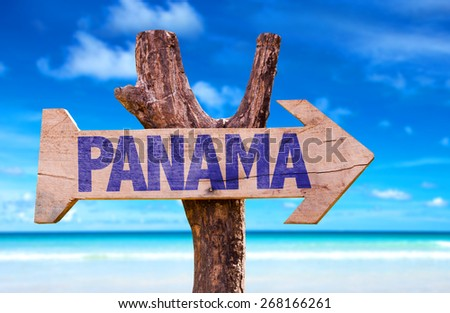 Panama wooden sign with beach background - stock photo