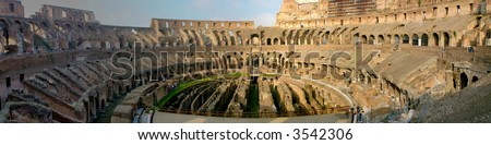 Panaramic view of the roman coliseum interior in Rome, Italy - stock photo