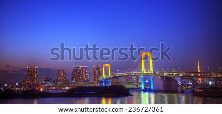 Panaroma of illuminated Tokyo. - stock photo