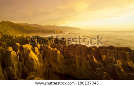 Panaroma of The Pancake Rocks at Sunset, New Zealand