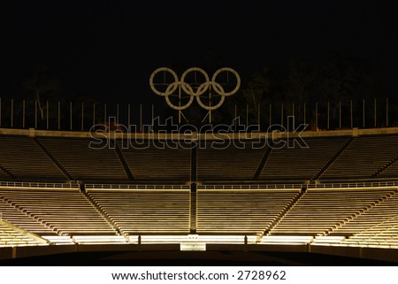 "Panathenean or ""Kalimarmaro"" (beautiful marble) stadium in Athens - Greece. The first stadium to host the modern Olympic Games (1896) - stock photo"