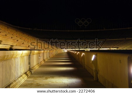 Panathenean stadium in Athens - Greece. The first stadium to hold the modern Olympic Games (1896) - stock photo