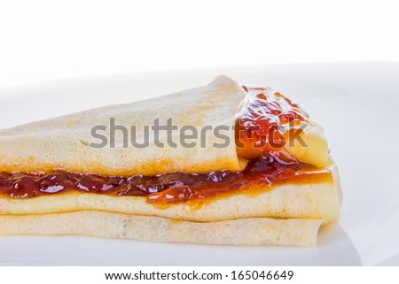 pancake and jam in close shot on white background
