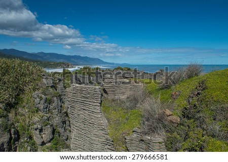 Pancake Rocks, Punakaiki, New Zealand - stock photo