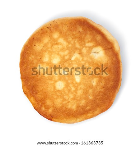 pancake taken in natural light isolated on white background with path - stock photo