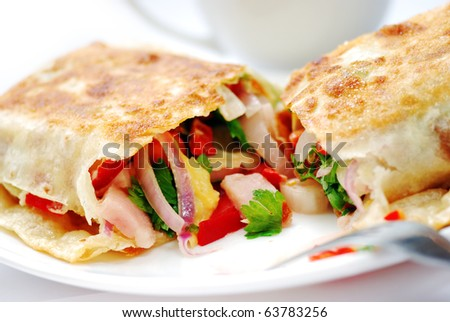 pancake with cheese and tomato
