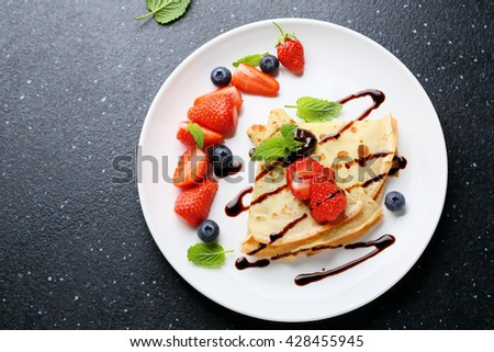 pancake with chocolate, food top view - stock photo