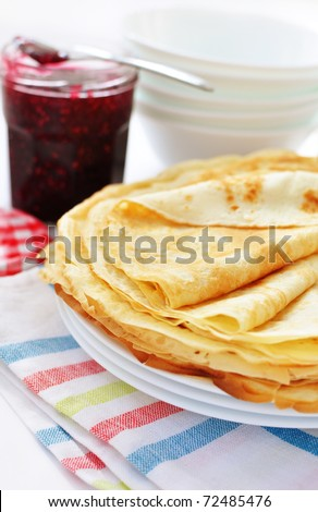 Pancakes for breakfast - stock photo
