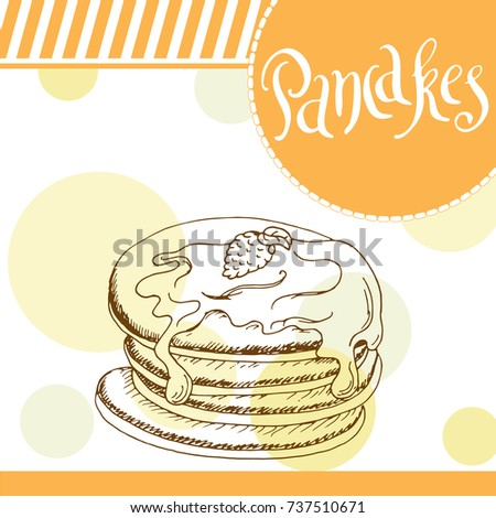 Pancakes illustration. Bakery design. Beautiful card with decorative typography element. Pie icon for poster