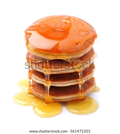 Pancakes in honey syrup on white background - stock photo