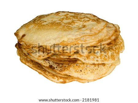 pancakes, isolated on white, clipping path included